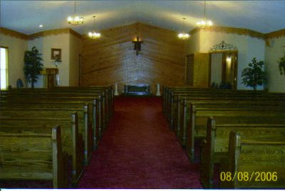 CHAPEL WITH PLENTY OF SEATING FOR THE AVERAGE FUNERAL